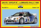 REJI MODEL 2421 A FORD 200 RS Group B Lombard Rally 1986 Official (1:24)