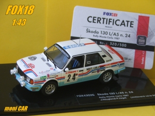 Škoda 130L/A5 No.24 J. Haugland - P. Vegel Rally Monte Carlo 1987 (1:43) FOX18